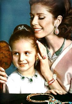 Magdorable! Mother and daughter wearing jewelry by Harry Winston, Boucheron, Van Cleef and Arpels, Cartier and Mauboussin, photo Guégan. L'Officiel June 1966