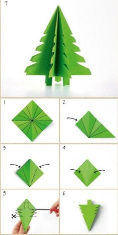 20 DIY Paper Ornaments To Brightened Your Christmas Decoration Amazing paper tree ornament in green. Christmas Napkin Folding, Diy Paper Christmas Tree, Paper Christmas Decorations, Christmas Napkins, Christmas Origami, Paper Ornaments, Christmas Ornaments To Make, Christmas Crafts, Ball Ornaments