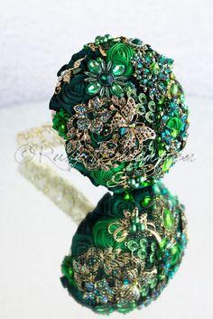 Green Butterfly gold emerald wedding brooch bouquet