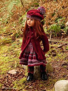 OOAK Hand-Knitted 3 Piece Ensemble for slim Gotz Happy Kidz dolls by Debonair Doll Clothes Patterns, Doll Patterns, Clothing Patterns, Knitting Patterns, Knit Crochet, Crochet Hats, Gotz Dolls, Toddler Dolls, Cat Doll