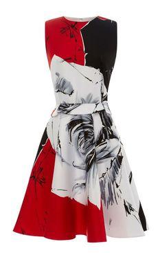 Rose-Print Flared Satin Dress by Prabal Gurung Now Available on Moda Operandi