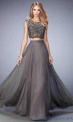 Shop gray pageant dresses and long two-piece dresses at Simply Dresses. Sleeveless evening gowns and full-length formal dresses in gray.