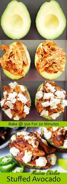 Mexican Stuffed Avocado with slow cooked shredded chicken ketoconnect.net