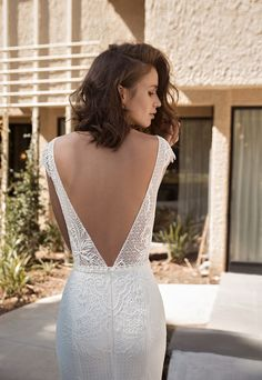 Flora Bride Intrigue 2018 Bridal Collection Bridal Cap sleeves straight across neck open V back heavily embellished bodice bohemian soft fit and flare wedding dress chapel train flora-bride - Wedding Dress Tea Length, Perfect Wedding Dress, Fitted Lace Wedding Dress Open Back, V Neck Fit And Flare Wedding Dress, Simple Lace Wedding Dress, Wedding Dresses 2018, Bridal Dresses, Romantic Dresses, Fitted Wedding Dresses