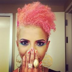 #Beat this is too cute:)) i like❤❤❤. pink orange dyed african american hair!!! This is toooo cute!!!
