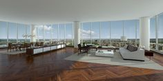 One57 condo layout, NYC. View of Central Park
