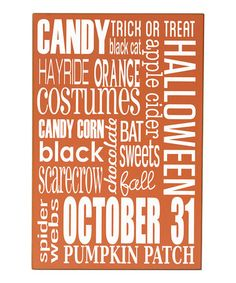 Orange & White Halloween Words Wall Sign