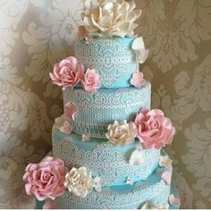 Tiffany Blue with Pink and White Flowers