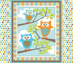 What the Hoot Quilt fabric by bzbdesigner on Spoonflower - custom fabric