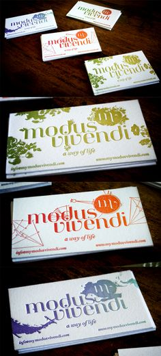 Exquisite Gradient Inked Letterpress Business Cards