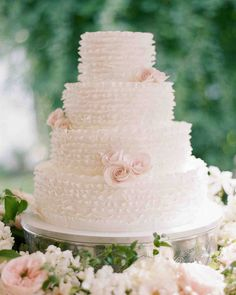 Trending Now: Deckle-Edged Wedding Cakes | Martha Stewart Weddings - Is layer upon layer of deckle-edged strips of fondant your dream wedding cake design? That's exactly what Nine Cakes created for this lucky couple.