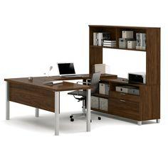 Premium Modern U-shaped Desk with Hutch in Oak Barrel