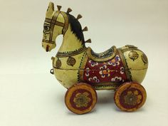 Wooden Painted Trojan Style Horse on Wheels With Hidden Compartment