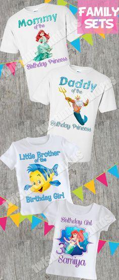 Little Mermaid Family Birthday Shirt Set | Little Mermaid Birthday Party Ideas | Ariel Birthday Ideas | Birthday Party Ideas for Girls | Twistin Twirlin Tutus #littlemermaidbirthday