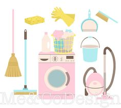 Cleaning Day Clipart Fun Pretty Clipart Retro by MeAndCoDesign Wine Glass Drawing, Camping Clipart, Token Economy, Bath Paint, Cleaning Day, Kawaii Drawings, Digital Invitations, Art Sketchbook, Sell On Etsy
