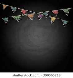 Chalkboard background with drawing bunting flags. Chalkboard Doodles, Chalkboard Print, Chalkboard Designs, Chalkboard Background, Farm Party Invitations, Flower Graphic Design, Background Drawing, Party Background, Happy Birthday Wallpaper