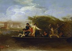 A Party of Gentlemen fishing from a Punt – Benjamin West 1794. Detail: wind , men , water , fishing , river , boat , fishing line, fishing pole, fish, float. Benjamin West (738-1820)