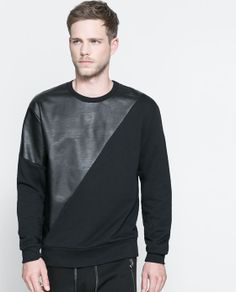 ZARA - MAN - SWEATSHIRT WITH FAUX LEATHER DETAILING