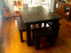 "This 40""x70"" Traditional Farmhouse Table and Benches comfortably seats a family of 6."
