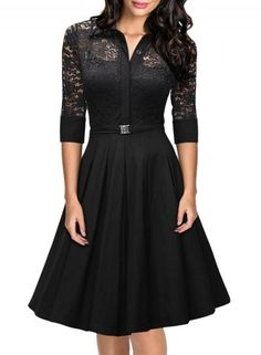 #Spring #AdoreWe #Oasap.com - #Azbro Fashion 3/4 Sleeve Hollow Out Floral Lace Pleated Dress - AdoreWe.com
