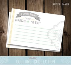 Recipe Cards Bride to Bee Bridal Shower by thecouturecollection, $5.00
