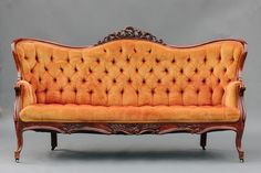 Vintage Orange Victorian Sofa- this would make a gorgeous headboard. Victorian Sofa, Victorian Furniture, Vintage Furniture, Furniture Decor, Victorian Rooms, Furniture Layout, 1930s Living Room, Living Room Sofa, Antique Sofa