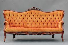 Vintage Orange Victorian Sofa
