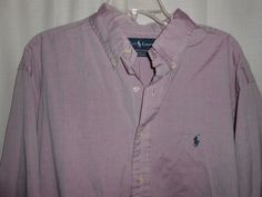 RALPH LAUREN Men Sz 17 36/37 Yarmouth Oxford Purple Shirt Long Slve Button-Up  #RalphLauren