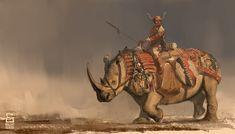 m Ranger barbarian Med Armor Rhino Mount Barding Desert Plains Steppe mud Rider by vladgheneli on DeviantArt med Fantasy Creatures, Mythical Creatures, Fantasy Inspiration, Character Inspiration, Fantasy Warrior, Fantasy Art, Character Portraits, Character Art, Spirit Animals Series