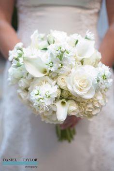 An elegant all-white bridal bouquet. (Daniel Taylor Photography)