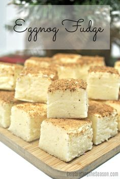 Nothing says the holidays like eggnog and delicious sweets This easy eggnog fudge recipe combines two of our favourite Christmas treats. Christmas Appetizers, Christmas Desserts, Christmas Baking, Christmas Treats, Christmas Goodies, Christmas 2019, Christmas Parties, Christmas Candy, Holiday Treats
