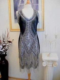 1920's Style GREAT GATSBY Black Silver BEADED FLAPPER Dress-LARGE