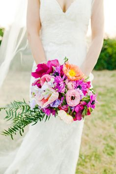 fuchsia wedding bouquet - photo by Kate Robinson Photography http://ruffledblog.com/best-of-2014-bouquets
