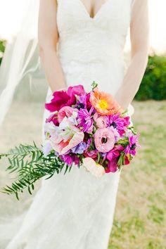 fuchsia wedding bouquet - photo by Kate Robinson Photography http://ruffledblog.com/best-of-2014-bouquets #weddingbouquet #flowers