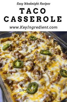 Tomato Recipes Easy Taco Casserole makes the best weeknight dinner! - Switch it up on taco night with this simple and delicious taco casserole! Casserole features layers of taco shells, ground beef, cheese and onions! Easy Taco Casserole, Chicken Casserole, Casserole Dishes, Cowboy Casserole, Beef Casserole Recipes, Mexican Beef Casserole, Casserole Ideas, Pizza Casserole, Ground Beef Casserole