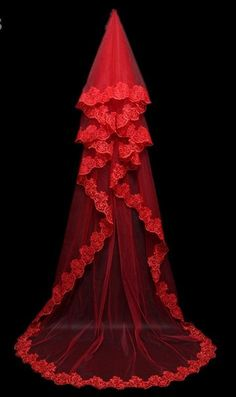 Red\Ivory\White 3 Meters Wedding Veils with Lace Appliques Edge Multi Layers for Bridal Veil S153
