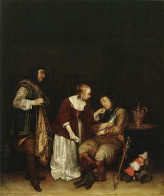 Gerard ter Borch (II): De slapende soldaat: ca. 1656-1657. Taft Museum of Art, Cincinnati. Voorbeeld voor Gerard Dou: Slapende vrouw geplaagd door twee soldaten. ca. 1660-1665. Dou nam het onderwerp over van een slapend figuur die onder de neus wordt gekieteld door omstanders. En figuren in volle lengte.