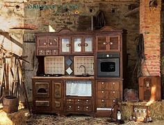 Steampunk Furniture | Wooden louvered doors in the upper right and left cabinets add ...