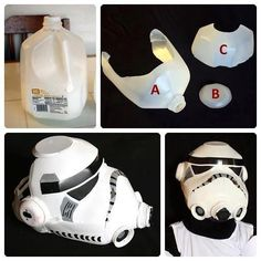 Star Wars mask out of a milk carton. Just too cool not to pin (the idea not the Star Wars) Diy For Kids, Cool Kids, Crafts For Kids, Star Wars Birthday, Star Wars Party, Star Ears, Manualidades Star Wars, Star Wars Stormtrooper, Costume Star Wars