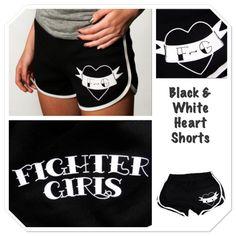Product of the week...Black & white heart shorts.  Shop fightergirls.com. The 1st & original in women's MMA. Best quality & dedicated to the female warrior. Http://www.fightergirls.com/shop. #fightergirls #wmma #womensmma #fightwear #sportswear #training #crosstrain #BodyCombat #grappling #kickboxing #jiujitsu #gym #circuttraining