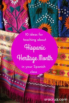 10 Ideas for teaching about Hispanic Heritage Month in your Spanish class Spanish Club Ideas, Spanish Lessons For Kids, Learning Spanish For Kids, Spanish Teaching Resources, Spanish Lesson Plans, Spanish Activities, Teaching Ideas, Learning Activities, Spanish Heritage