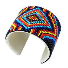 MULTICOLOR MEDICINE MAN'S EYE BEADWORK MEN'S BEADED CUFF BRACELET LEATHER
