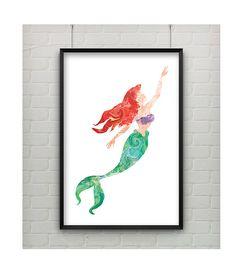 Litttle Mermaid Print - Little Mermaid 11x17 Print - Water Color Inspired Art Ariel from The Little Mermaid Poster Print on Etsy, $20.00