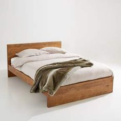Lunja rustic solid pine bed without slats , dark wood, La Redoute Interieurs Under Bed Drawers, Under Bed Storage, Cama Design, Bed Without Slats, Drawers On Wheels, Solid Oak Beds, Pine Beds, Kiefer