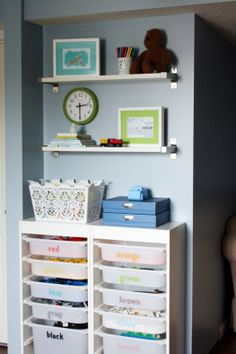 Anyone have the sliding bin storage? Attempting Aloha: Think outside the {toy} Box - Over 50 Organizational Tips for Kids' Spaces Trofast Ikea, I Heart Organizing, Lego Organizing, Organising, Lego Storage, Storage Ideas, Organization Ideas, Playroom Organization, Ikea Storage