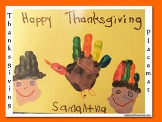 thanksgiving preschool crafts | Create this cute placemat by painting the children's hands ...