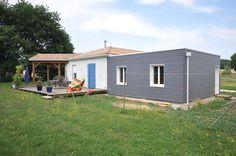 Vivanbois - extension ossature bois , menuiserie pvc, bardage bois peint, toit terasse