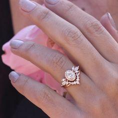 Oval Moissanite Unique Engagement Rings Set, Athena & Athena Armor, Moissanite Bridal Rings Set, Cluster Moissanite Wedding Rings Set #MoissaniteWedding #BridalSetRings #MoissaniteRing #UniqueBridalSet #OvalHaloRing #RingWithSideBand #DiamondNestingRing #MoissaniteSet #EngagementRingsSet #14kGoldRings Engagement Ring Settings, Engagement Rings, Moissanite Wedding Rings, Forever One Moissanite, Bridal Rings, Unique Rings, Natural Diamonds, Special Gifts, Diamond Jewelry