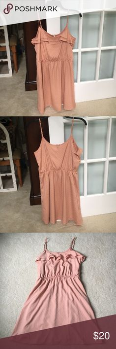 Lauren Conrad dress Beautiful dress brand new with tags. Cute ruffle detail on top with adjustable straps and button closure. Dress is fully lined 100% polyester shell and lining. Dress embellished with little gold dots. LC Lauren Conrad Dresses