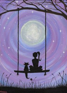 A Girl and her Cat Sure to capture hearts. Get lost in this dreamy, heartfelt silhouette of a girl and her Cat sitting on a swing under the majestic full moon.  This is my 2nd Acrylic on Canvas painting. I used five basic colors (black white red blue yellow) blended to create the beautiful pastels. Signed by artist. The original painting already has a home; I am offering only high quality photo prints of the original painting at this time. Are you shopping for an original canvas painting…